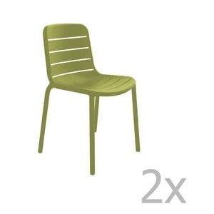 Zestaw 2 zielonych krzeseł ogrodowych Resol Gina Garden