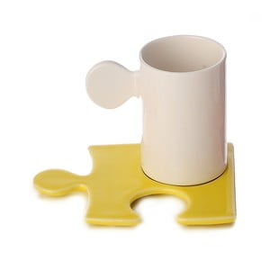 Porcelanowy kubek Puzzle White/Yellow
