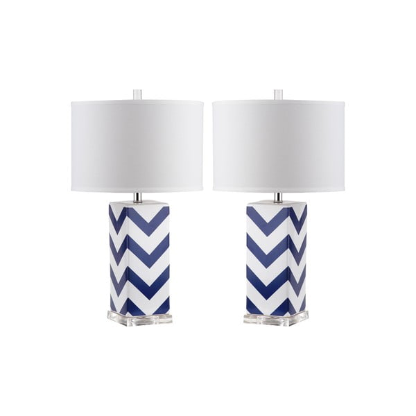 Zestaw 2 lamp stołowych z niebiesko-białą podstawą Safavieh Gabriella