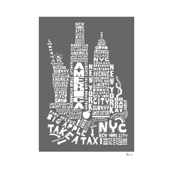 Plakat New York Grey&White, 50x70 cm