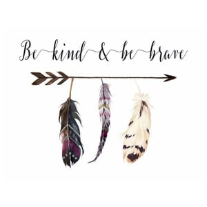 Plakat w drewnianej ramie Be kind be brave simple, 38x28 cm