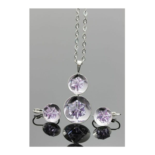 Komplet Swarovski Elements Inside Drops Violet