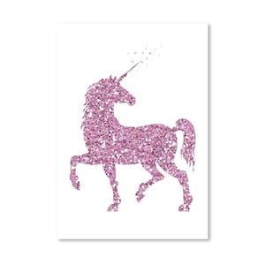 Plakat Americanflat Glitter Unicorn in Pink, 30x42 cm