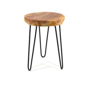 Drewniany taboret z metalowymi nogami Moycor Marsella