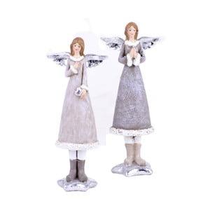 Zestaw 2 zimowych aniołków Ego Dekor, wys.16,5