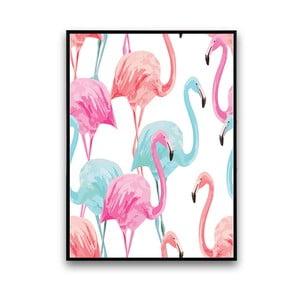 Plakat z flamingami, białe tło, 30 x 40 cm