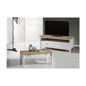 Biały stolik pod TV z drewna sosnowego SOB Jayde