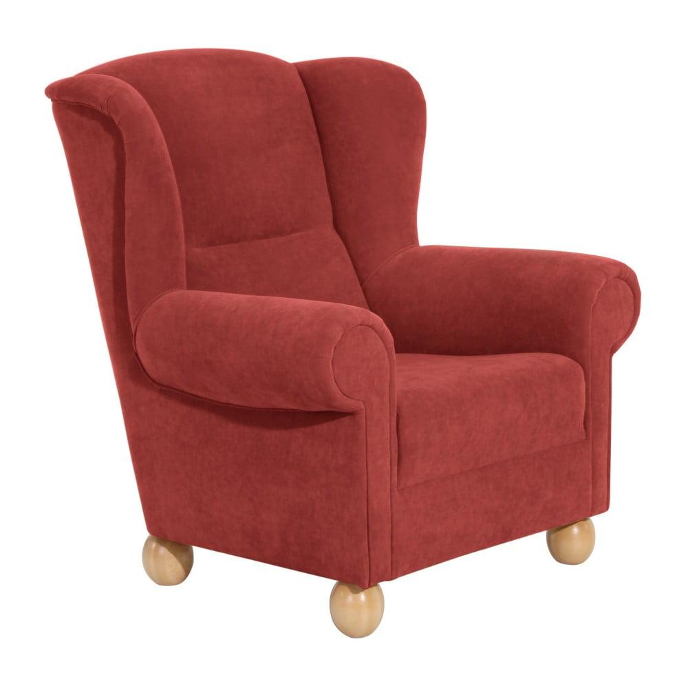 Brązowoczerwony fotel Max Winzer Monarch Velor