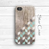 Etui na na iPhone 4/4S Wood Herringbone Mint