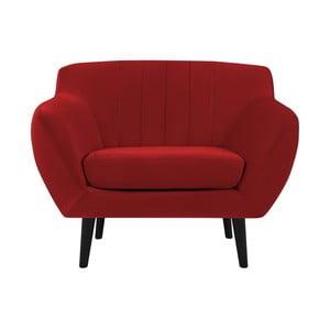 Czerwony fotel z czarnymi nogami Mazzini Sofas Toscane