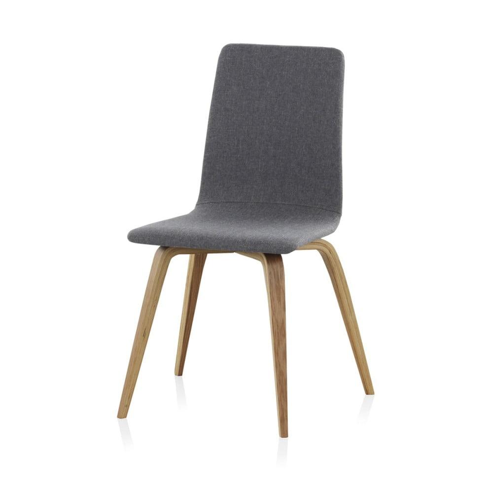 Drewniane krzesło do jadalni z szarym obiciem Geese