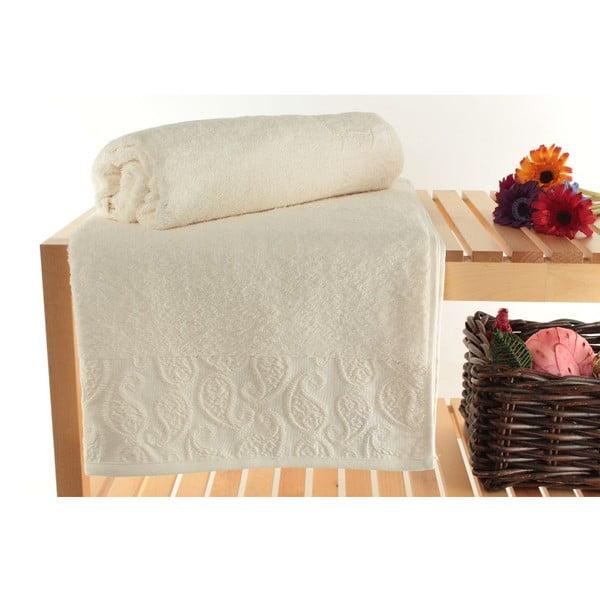 Zestaw 2 ręczników kąpielowych Sal Ecru, 90x150 cm