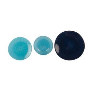 Komplet 18 szklanych talerzy Blue
