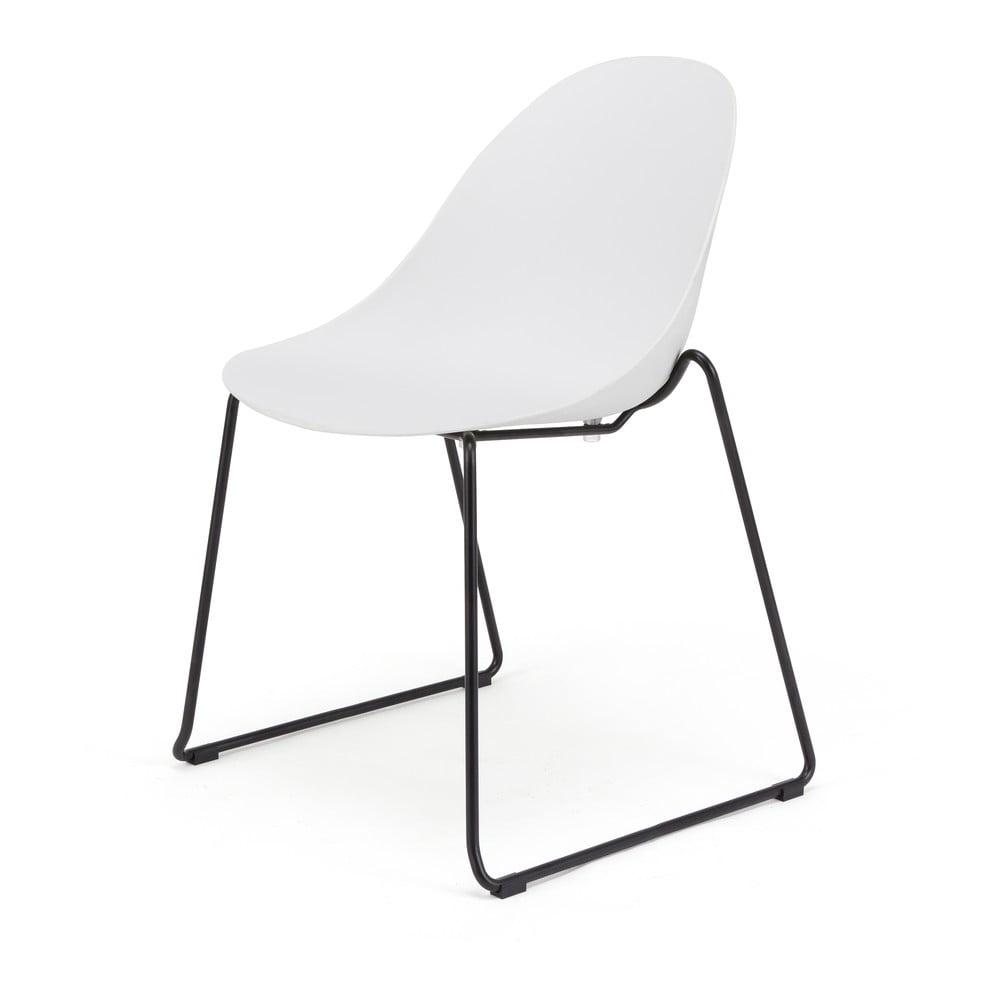 Zestaw 2 białych krzeseł z czarną kontrukcją Le Bonom Viva