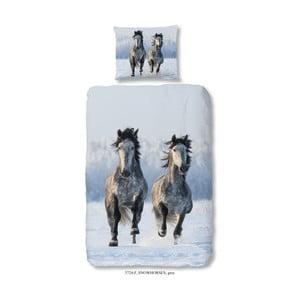 Dziecięca pościel bawełniana Good Morning Snow Horses, 140x200 cm