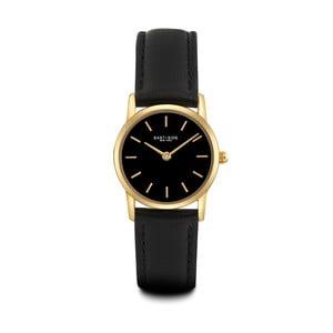 Czarny zegarek damski ze skórzanym paskiem i cyferblatem w kolorze złota Eastside Elridge