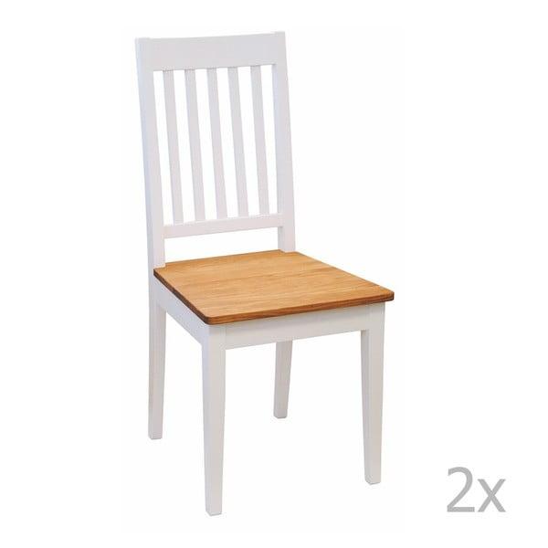 Zestaw 2 białych krzeseł z drewna dębowego Folke Ella