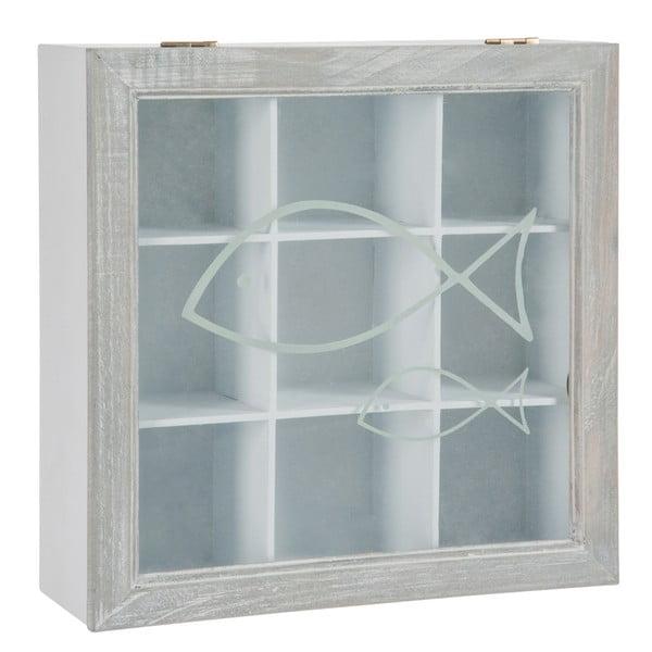 Pudełko na herbatę Fish White, 23x23x8 cm