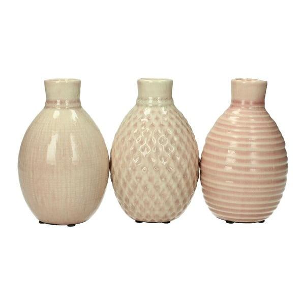 Zestaw 3 świeczników Stoneware Pink