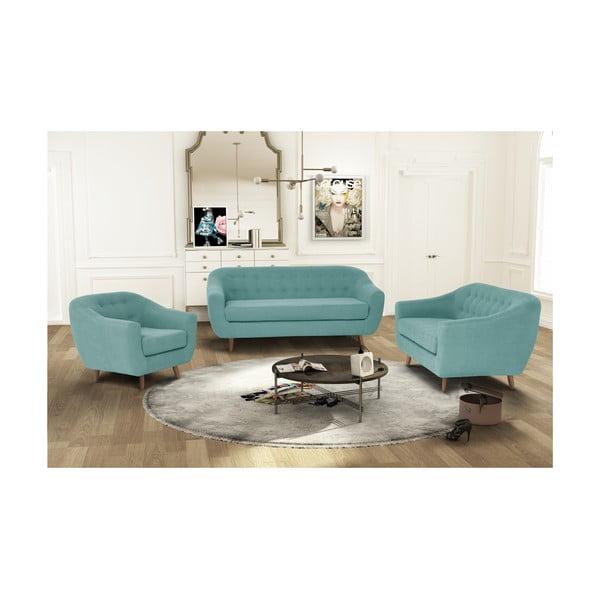 Miętowy zestaw fotela i 2 sof dwuosobowej i trzyosobowej Jalouse Maison Vicky