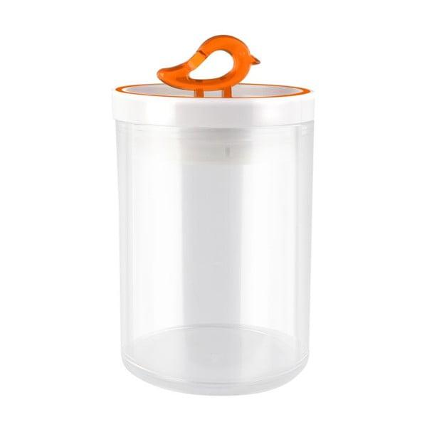 Przezroczysty pojemnik z pomarańczowym detalem Vialli Design Livio, 0,8 l
