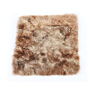 Brązowa poduszka futrzana do siedzenia z krótkim włosiem, 37x37 cm