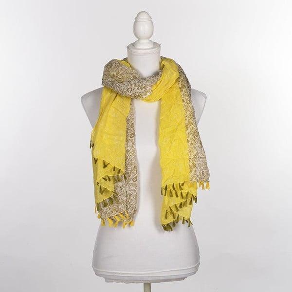 Chusta/pareo BLE Inart 100x180 cm, oliwkowo-żółta