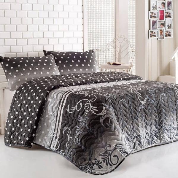 Komplet narzuty i poduszki Buse Grey, 160x220 cm