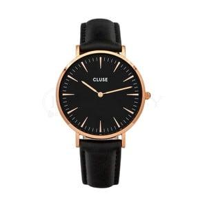 Czarny zegarek damski ze skórzanym paskiem i detalami w kolorze różowego złota Cluse La Bohéme