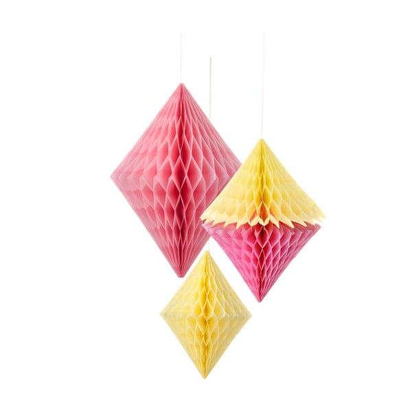 Papierowa dekoracja Honeycomb Diamond Yellow&Pink, 3 szt.