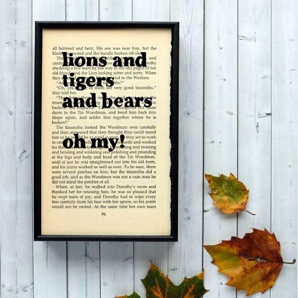 Plakat w   drewnianej ramie Wizard of Oz Lions and Tigers