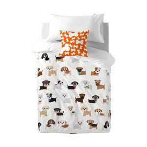 Pościel bawełniana dziecięca z poszewką na poduszkę Mr. Fox Dogs, 140x200 cm