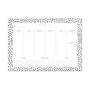 Kalendarz tygodniowy Leo La Douce Black Dots, 21x29,7cm