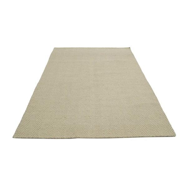 Ręcznie tkany dywan Kilim Chevron White/Beige, 155x215 cm