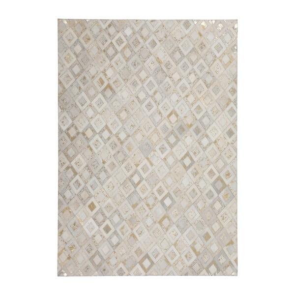 Kremowo-złoty skórzany dywan Dazzle, 160x230cm