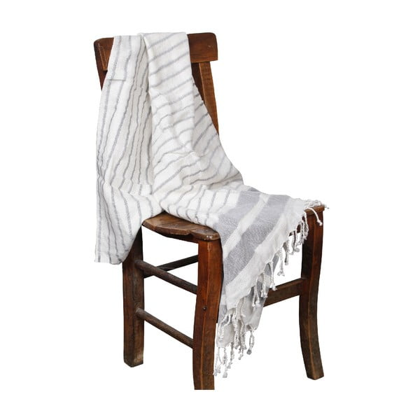Szary ręcznik hammam Aqua Grey, 90x190cm