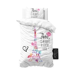 Jasnoszara pościel z mikroperkalu Sleeptime Paris, 140x220 cm