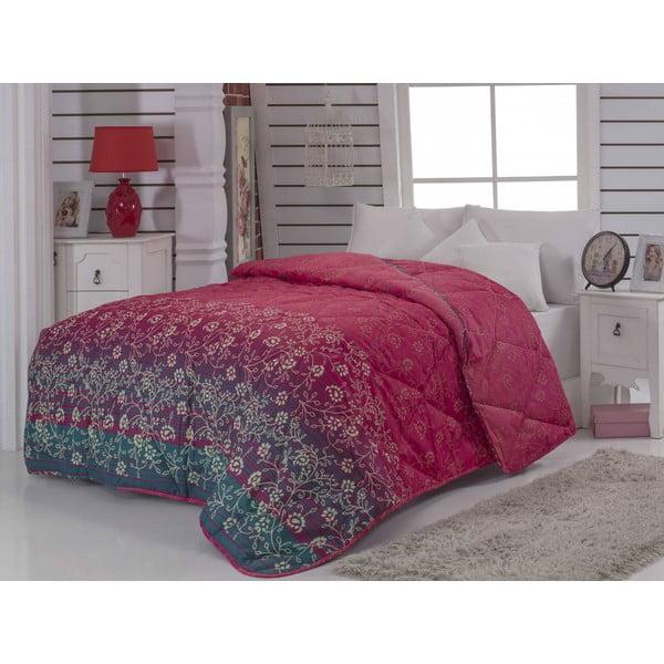 Narzuta pikowana na łóżko dwuosobowe Yakamoz Fuchsia, 195x215 cm