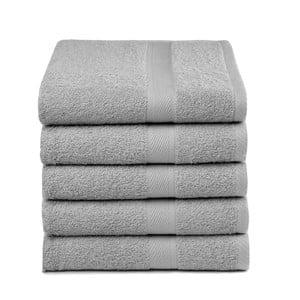 Zestaw 5 jasnoszarych ręczników Ekkelboom, 50x100 cm