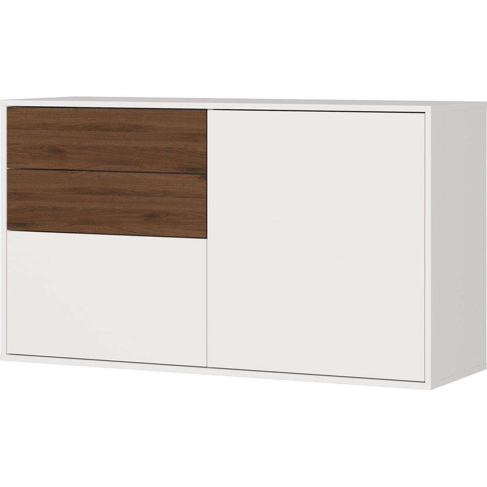 Biało-brązowa szafka na buty Germania Madeo, szer. 118 cm
