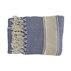 Niebieski ręcznie tkany ręcznik z bawełny premium Elmas,100x180 cm
