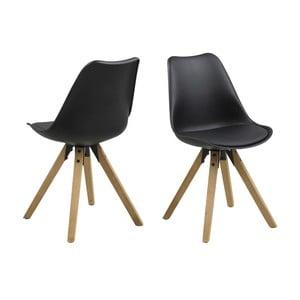Krzesło do jadalni Dima, czarne z drewnianymi nogami