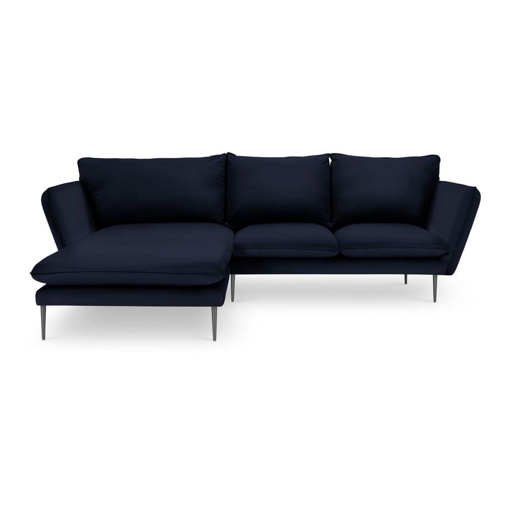 Ciemnoniebieska aksamitna sofa narożna Mazzini Sofas Acacia, lewostronna