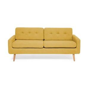 Żółta sofa 3-osobowa Vivonita Ina