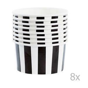 Zestaw 8 kubeczków papierowych na lody z łyżeczkami Miss Étoile Black Stripes