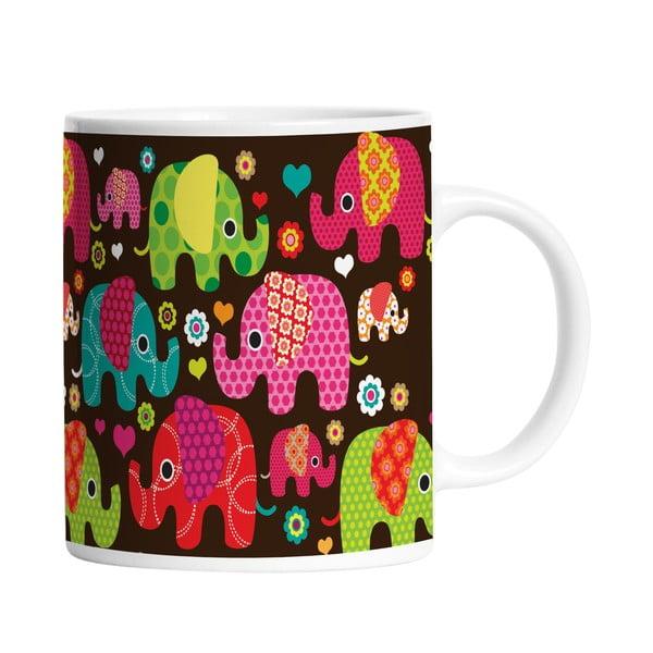 Ceramiczny kubek Elephants in Black, 330 ml