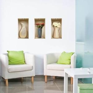 Naklejki na ścianę 3D Vases à fleurs, 3 szt.