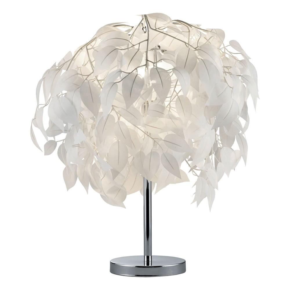 Biała lampa stołowa Trio Leavy, wys. 60 cm