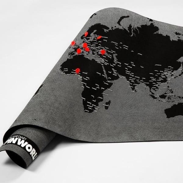 Czarna ścienna mapa świata Palomar Pin World Mini, 77x48cm