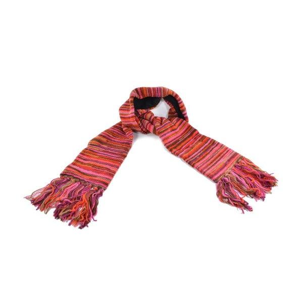 Wełniany szalik z polarową podszewką Spacedye Red